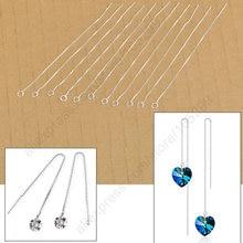 Женские длинные серьги подвески из серебра 925 пробы 20 шт/комплект