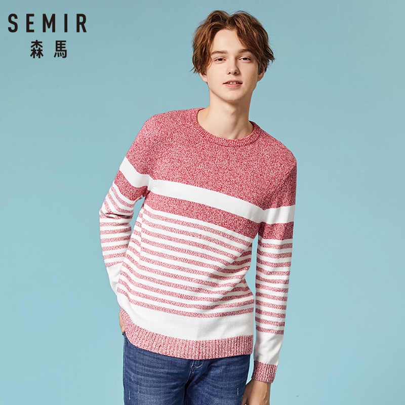 SEMIR Autumn Sweater Men 100% Cotton Gray Color Knitted Brand Clothing Man's Knitwear Pullovers Knitting Plus Size Tops