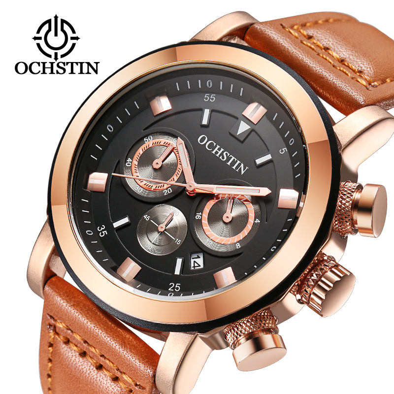 OCHSTIN Sport Watches Men Luxury Brand Leather Strap Army Military Men Watch Clock Male Quartz Watch Relogio Masculino 2017 saat break men watches luminous military army analog date day sport watch leather strap male clock quartz watch relogio masculino new