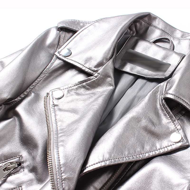 Biker Moto Argent Cuir Pu Veste Lavé Couleur Vestes Femmes Ceinture Platine En Femelle Zipper ttavqn6C