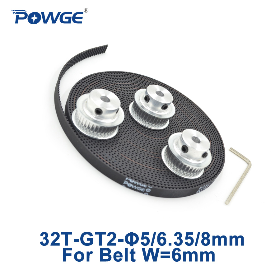 POWGE 3pcs 32 teeth GT2 Timing Pulley Bore 5mm 6.35mm 8mm + 5Meters width 6mm GT2 Timing Belt 2GT pulley belt 32Teeth 32T powge 8pcs 20 teeth gt2 timing pulley bore 5mm 6mm 6 35mm 8mm 5meters width 6mm gt2 synchronous 2gt belt 2gt 20teeth 20t