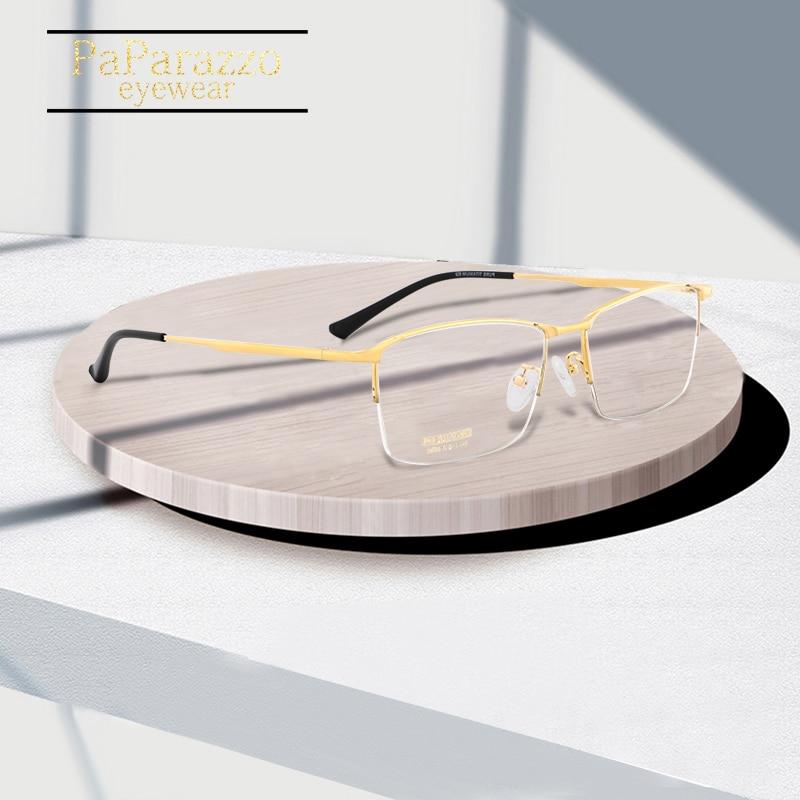 Titanium Myopia Glasses Frame Men Optical High Quality Korean Eyewear Semi Eyeglasses Prescription