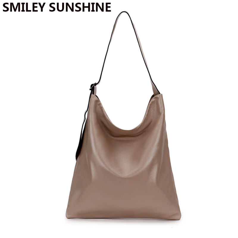 100% Real Genuine Leather Handbags Women Shoulder Bags Female Big Capacity Tote Bags for Women Fashion Hobo Ladies Hand Bag 2018 new vintage pu washable leather tote hobo bags for women designer shoulder handbags ladies large bag 2017 big hobo sling purses
