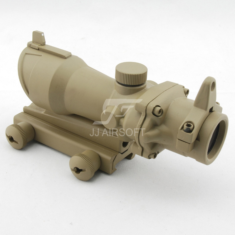 JJ Airsoft ACOG Style 4x32 Scope (Tan) FREE SHIPPING(ePacket/HongKong Post Air Mail) jj airsoft acog style 4x32 scope with docter mini red dot light sensor black free shipping