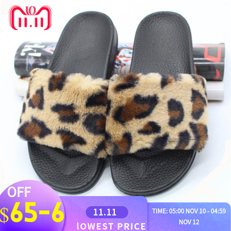 2018 Nieuwe Fashion Slipper Womens Dames Sliders Luipaard Gedrukt Slippers Pluizige Faux Fur Flat Slipper Flip Flop Indoor Sandaal Modern En Elegant In Mode