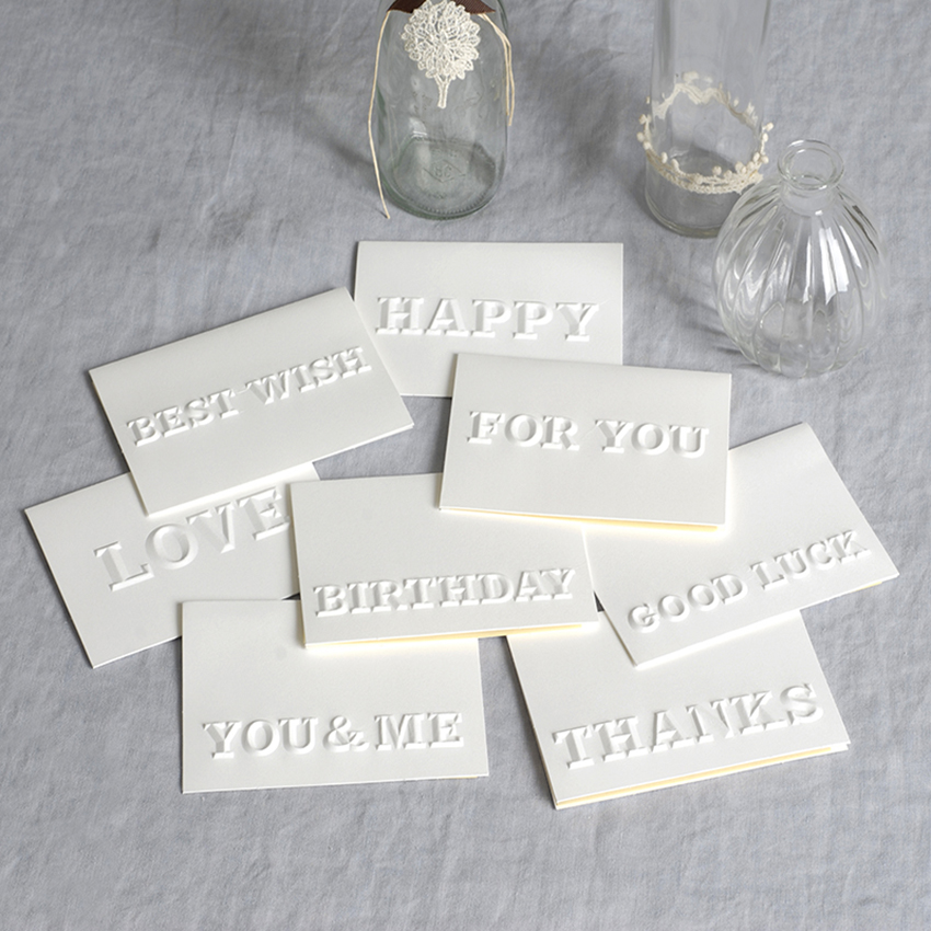 White Letter Embossed Folder Card with Kraft Envelope BEST WISH/ BIRTHDAY/ FOR YOU/ GOOD LUCK/ HAPPY/ THANKS/ YOU&ME Mini Gift image