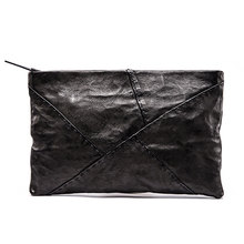 Ruil 2017 New mens wallet Top Quality england retro style personality handmade goat skin zipper Handbag coin purse Waist bag