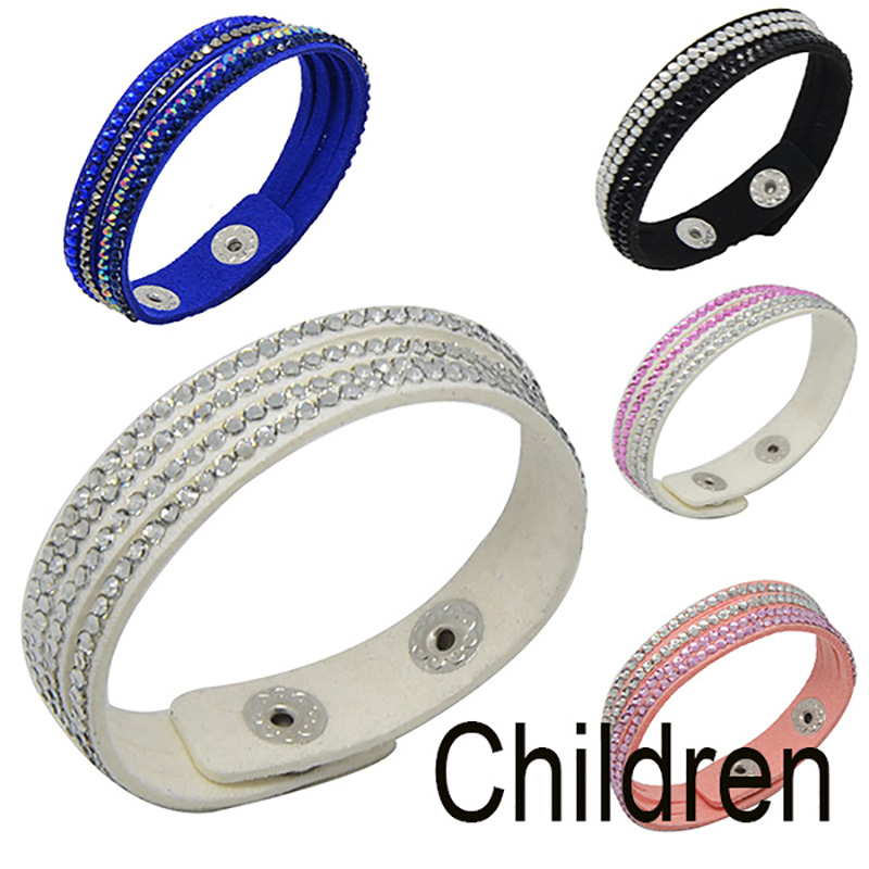 Chanfar Fashion Crystal Paved Leather Child Bracelets Kids Vs