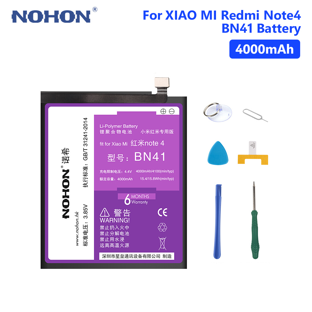 NOHON BN41 BM22 BN31 BM45 BN43 Rechargeable Lithium Battery For Batteries Xiaomi Mi 5 5X Redmi Note 2 4 4X Bateria Free ToolsNOHON BN41 BM22 BN31 BM45 BN43 Rechargeable Lithium Battery For Batteries Xiaomi Mi 5 5X Redmi Note 2 4 4X Bateria Free Tools