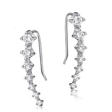 Shiny Crystal Fashion Sterling Silver Ladies Stud Earrings Jewelry