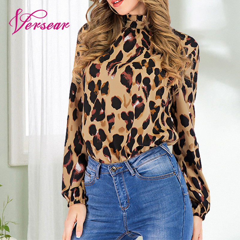 Versear Women Fashion Blouse Casual Turtleneck Leopard Print Long Sleeve Pullover Tops Women Elegant Autumn Shirts Blusas Mujer