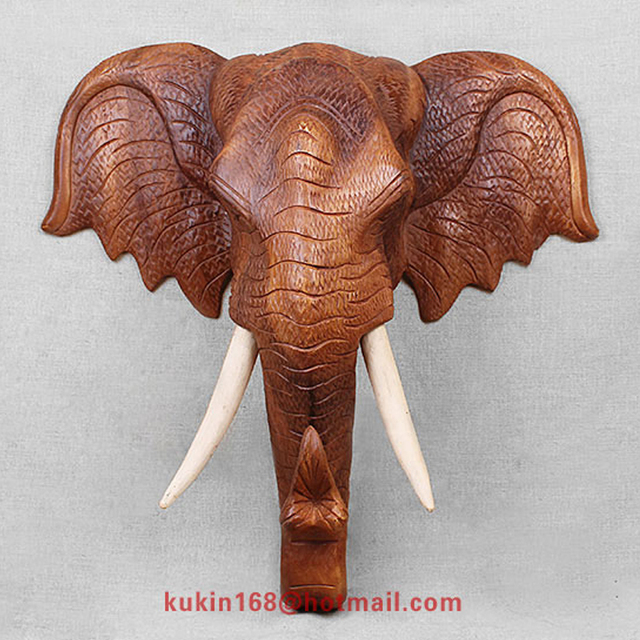 Wooden Handicrafts Elephant Head Shop Home Wall Decorations In