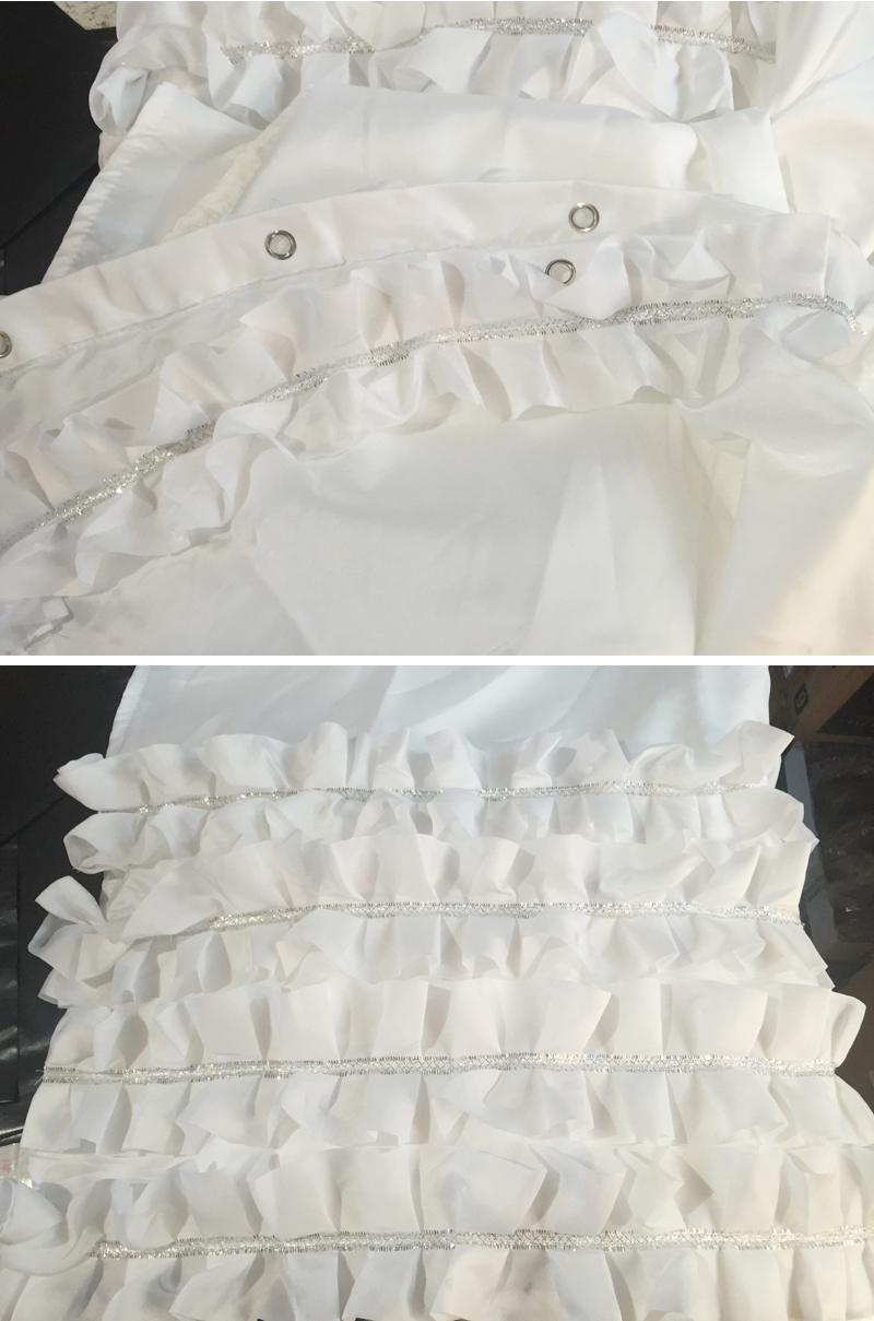 White Ruffled Princess Dress Design Shower Curtain Bathroom Waterproof Fabric