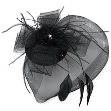 TFGS 10 x Black Feather Veil Hair Clip Top Hat Party Cosplay Hot