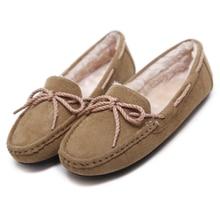 Senhoras planas sapatos mocassins deslizar sobre mulheres Flats Nó Suave Plush inverno quente saltos baixos mulheres sapatos peas sapatos casuais estudante mam