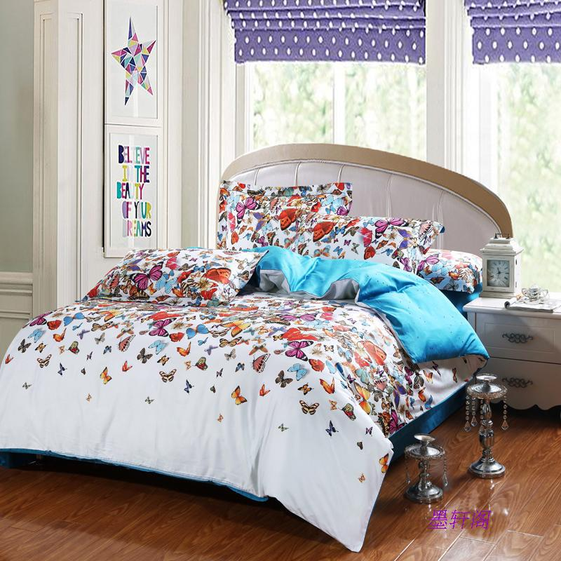 Egyptian Cotton Butterfly Comforter Cover Set Bedspread Bedding Set King Size Skirt 60s Bed Set