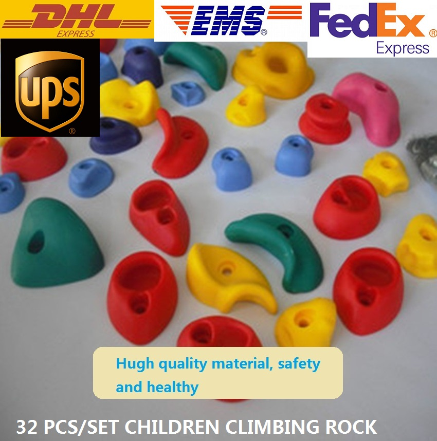(With Screw) 32 pcs/set Plastic children Indoor Rock Climbing Stones toy Wall Kit Kids Toys Sports Hold outdoor game Playground