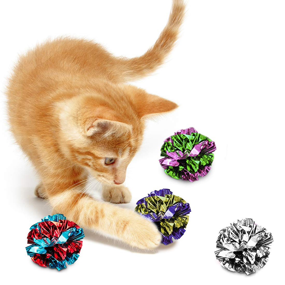 Crinkle Balls for Cats Soft Lightweight Toy Both Kittens Adult Shiny Stress Buster Crinkly Sounds Safe Kitty