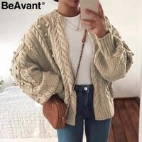 BeAvant Vintage pompon twist knitted cardigan women Zipper o neck casual female outwear cardigan Fashion autumn ladies sweater