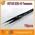 Factory wholesale 10pcs Anti-static Stainless Tweezers Steel Fine Tip Straight Forceps VETUS ESD-10 Free shipping