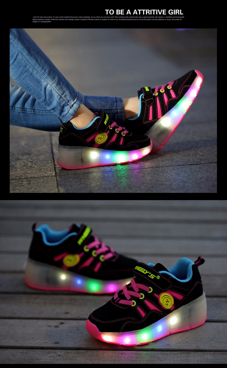 High Quality Cheap Boys LED Sneakers With Wheels Kids Light Up Shoes Girls Roller Skates tenis de rodinha9