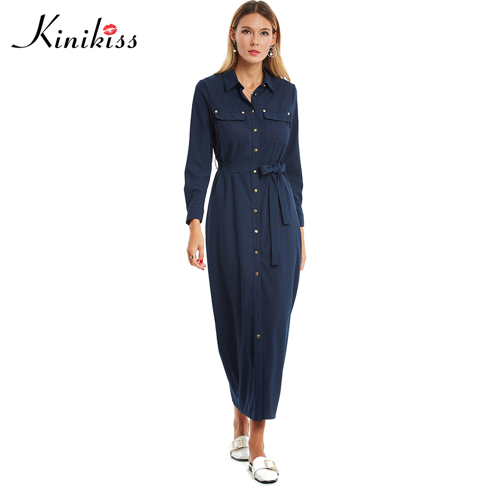 Kinikiss Maxi Summer Dress 2017 Solid Women Navy Long Sleeve Lace Up Pocket Button Office Dress