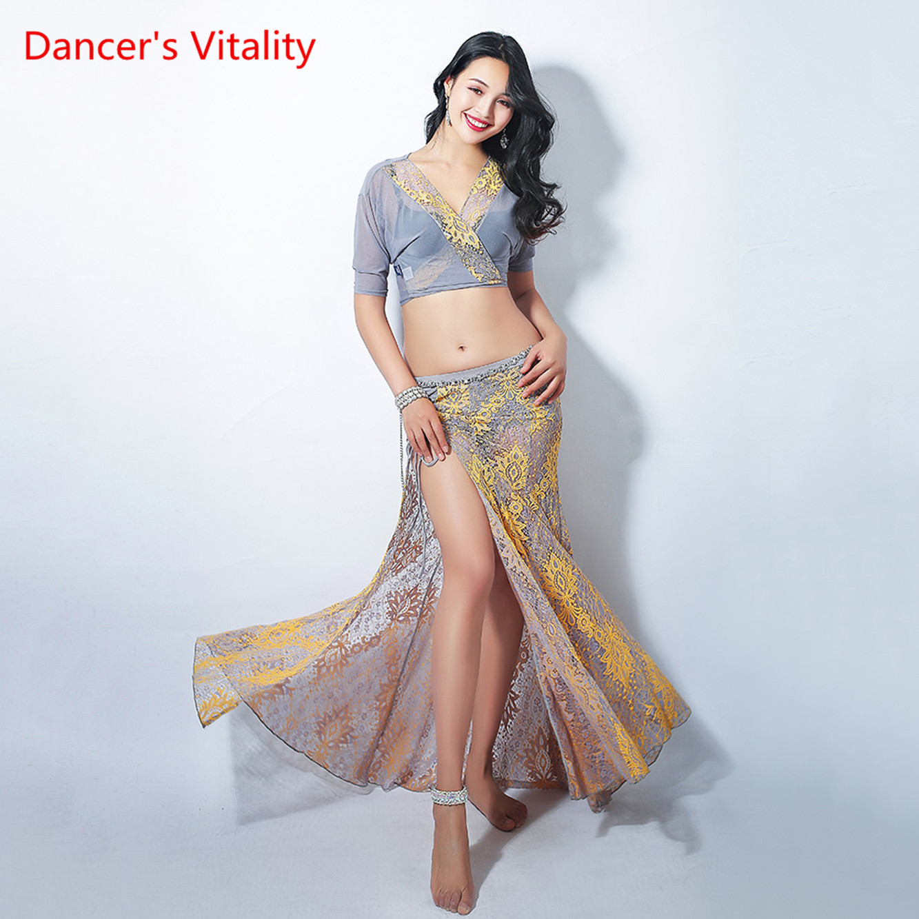 New Women Belly Dance Practice Clothes Costumes Lace Mopping Skirt+Sexy V Collar Top 2pcs Free Delivery