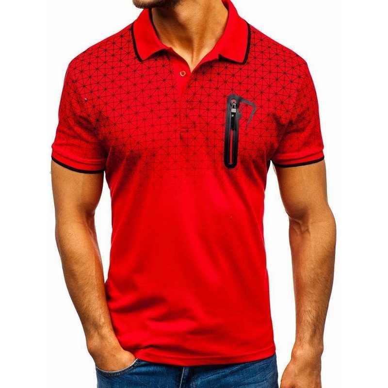 Laamei 2020 여름 지퍼 폴로 셔츠 남성용 반팔 티셔츠 슬림 피트 망 옷 보디 빌딩 streetwear polo shirts