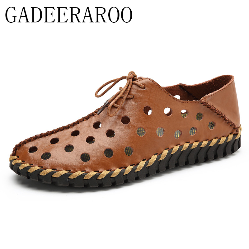 0b6930c643e5b 2017 Italian Style Men Sandals Slippers Genuine Leather Outdoor Summer  Men S Casual Shoes Gladiator Sandals For Man-in Men s Casual Shoes from Shoes  on ...