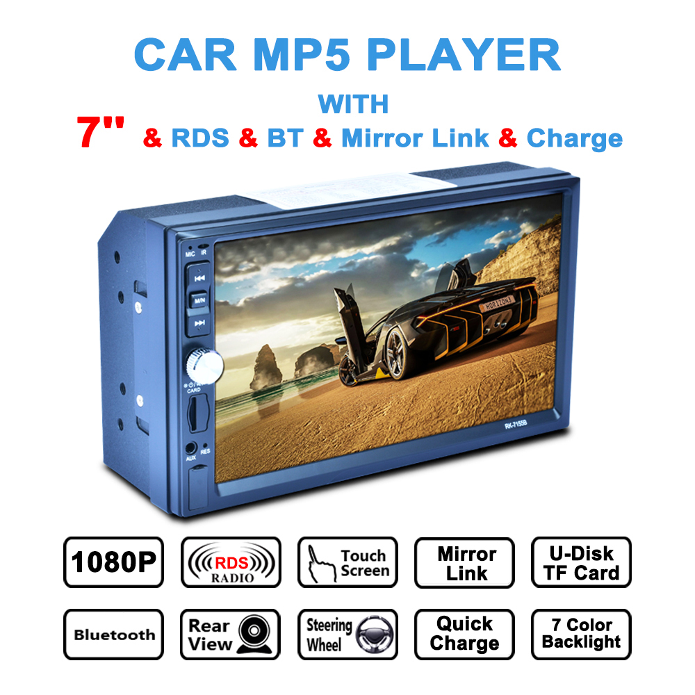 7 Inch 12V 4 x 50W 2 Din Bluetooth Auto Multimedia Car Stereo MP5 Player AM / FM / RDS Radio Support Aux In / Rear View Camera rk 7157b 7inch 2din car mp5 rear view camera fm am rds radio tuner bluetooth media player steering wheel control