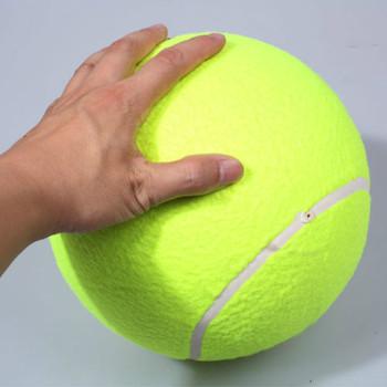 O średnicy 24 cm pies piłka Giant dla zwierząt zabawki do żucia duży nadmuchiwany na świeżym powietrzu piłka tenisowa podpis Mega Jumbo dla zwierząt domowych zabawki pociąg Ball tanie i dobre opinie Pojedynczy pakiet Piłka treningowa 24cm rubber 0 28KG