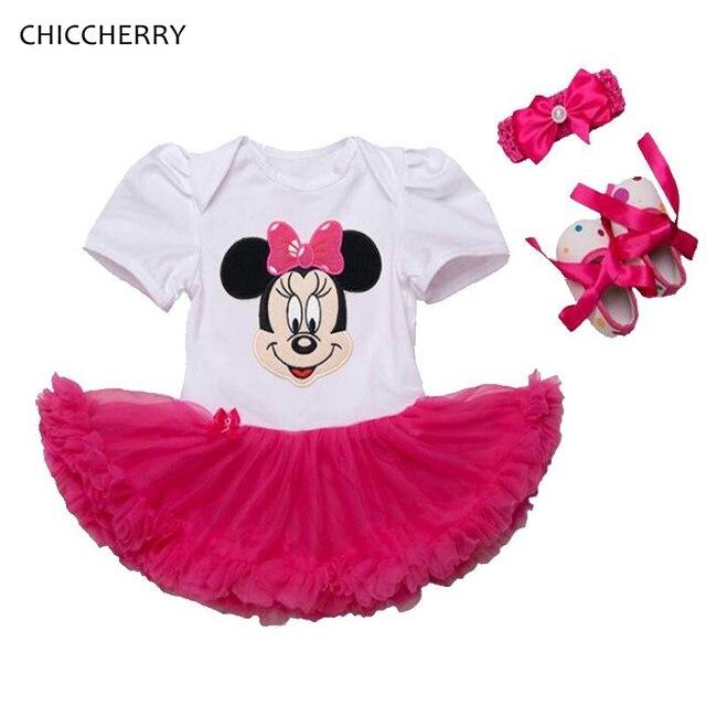 ef7edb62378d5 Ensemble Minnie Bebe Fille mode bébé Fille vêtements d été dentelle Petti  barboteuse robe bandeau