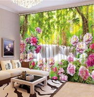 custom 3d cortinas Flowers waterfall landscape 3d curtains to living room bedroom curtains with valance window curtains