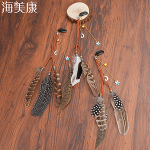 Haimeikang Women Feather Hairband Hair Comb Clips Boho Headband Headpiece Bohemian Tassel Hair Accessories Folk Hairgrip