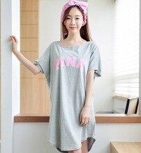 Millyn 2018 New Summer Lady Long Nightgown Sleepshirts Cute Lovely Cartoon Animal Sleepwear Short Sleeve Cotton Women Nightdress