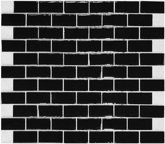 black glass subway tile backsplash kitchen liner wall brick interlocking mosaic tile
