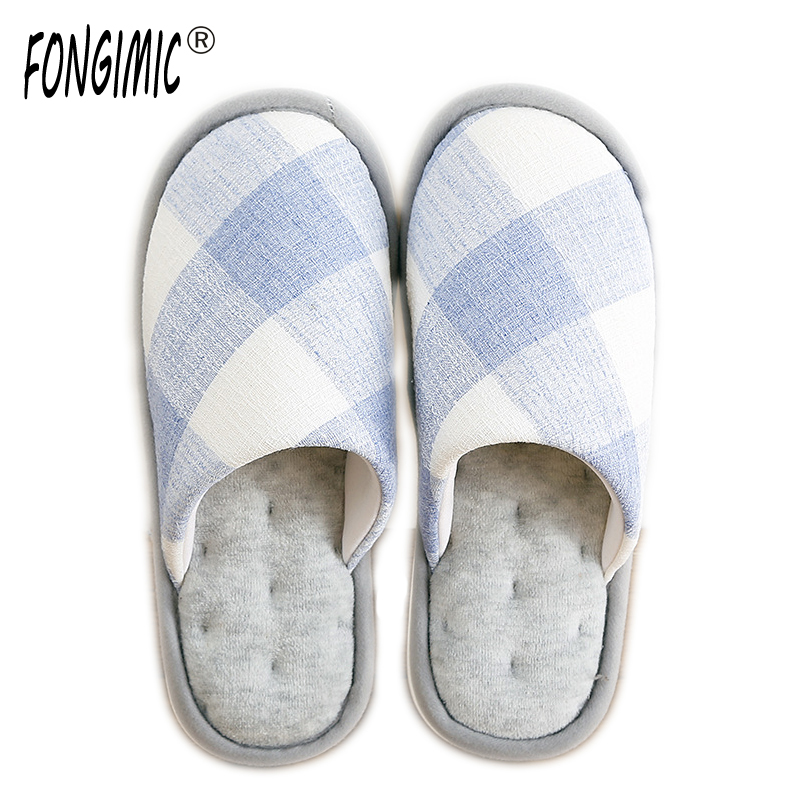 FONGIMIC Autumn Winter Lovers Slippers Men Women Fashion Cotton Slipper Indoor Warm Comfortable Soft Bottom Plaid Slipper New 2016 winter new fashion cotton slippers home indoor soft bottom plush slipper for lovers free shipping