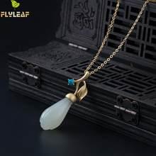 74da77141872 Guarda 18 k de oro turquesa Jade blanco Magnolia flor Simple collares y  colgantes para mujer Plata de Ley 925 joyería Vintage