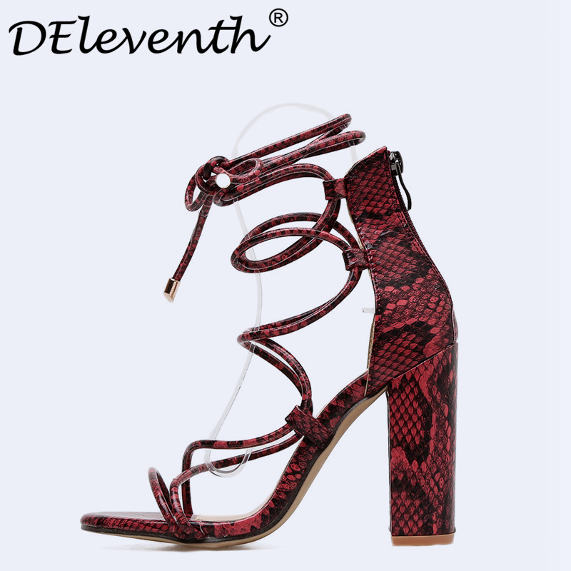 Detail Feedback Questions about DEleventh 2018 Womens Serpentine Block Heels  Sandals Pumps Lace Up Chunky Sandals Thick Heel Woman Summer Ladies Party  Shoes ... 20af7f90b89e