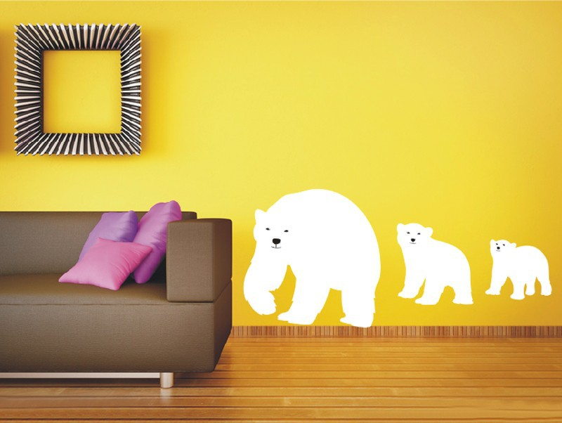 웃 유New Polar Bear Vinyl Wall Animal Decals Bear Mother Bear Cub ...