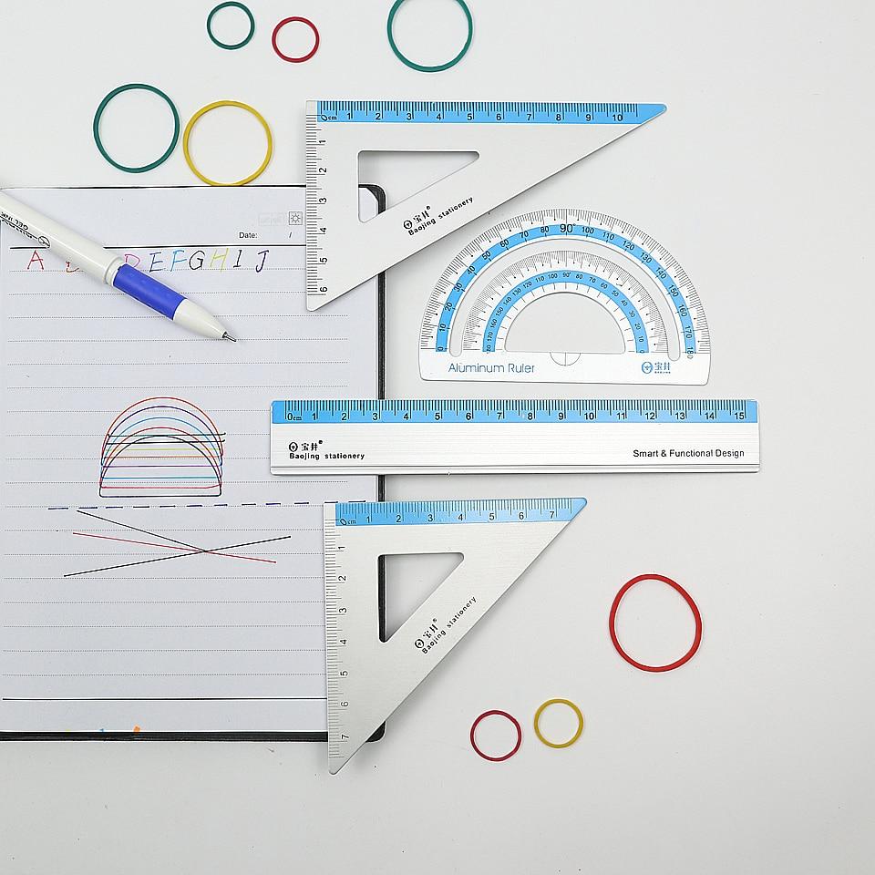 New Aluminum alloy Ruler Aluminum Protractor Students Maths Geometry Metal Triangle Ruler Set Office School Supplies 4pcs/set