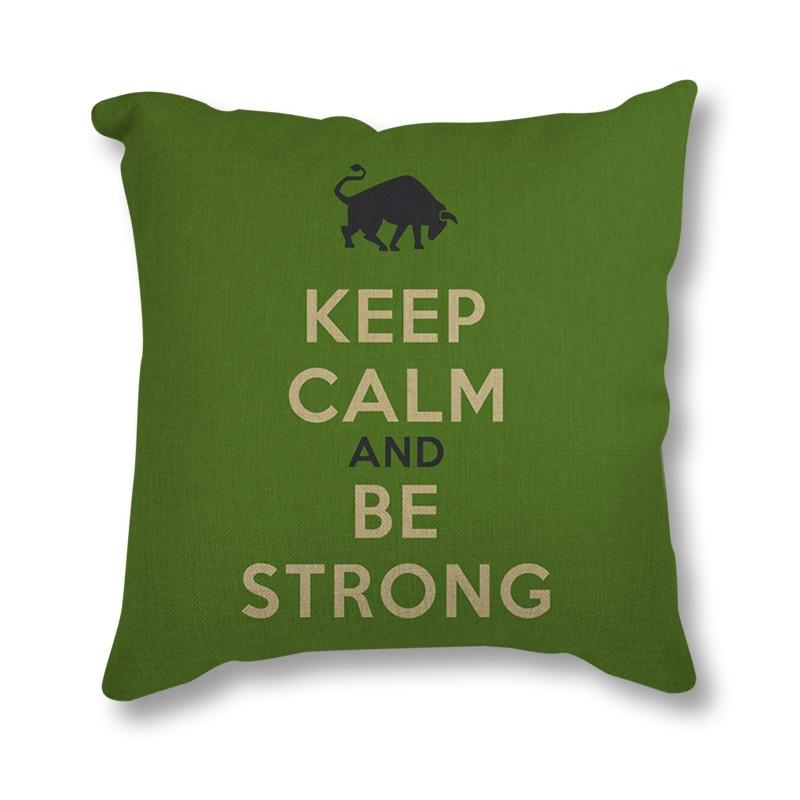 Home Seat Cushion Modern Coffee Keep Calm Life Hippie Quotes Print Throw Pillow 45x45cm Nordic Linen Decorative Cushion For Sofa