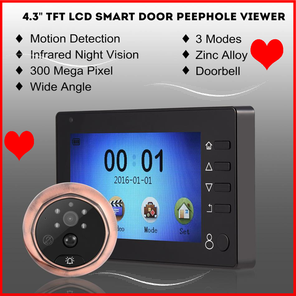 4.3 TFT Color LCD Smart Digital Peephole Viewer Camera HD Night Vision Security Camera Monitor Doorbell PIR Motion Detection ...