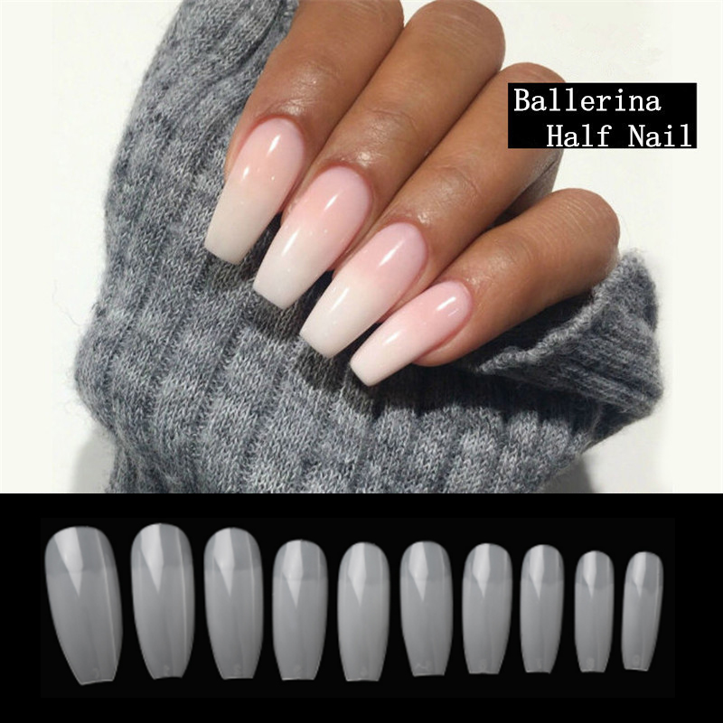 100pcs/box DIY Ballerina Coffin Shape Half Cover Press on Nails French Acrylic UV Gel Salon Artificial Nail Art Tips Faux Ongle snap button jewelry