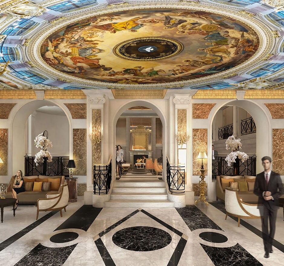 Custom 3d Ceiling Wallpaper European For Hall Living Room