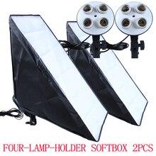 2 قطع 50*70 سنتيمتر إضاءة مستمرة التصوير عدة softbox 4 lamp holder المقبس 100 240 فولت