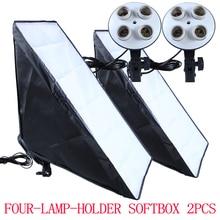 Boîte à lumière à éclairage continu 50x70cm, 2 pièces, 4 supports de lampe, prise 100 240V, KIT de photographie