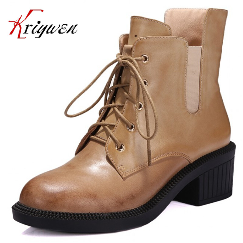 100% Real Photo genuine leather cow ladies casual shoes Round toe motorcycle boot zapatos mujer Top quality short ankle boots