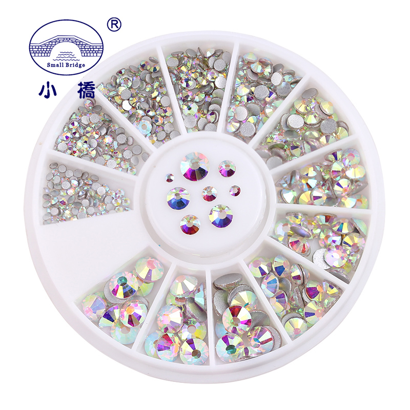 SS3-SS20 White AB Glass Rhinestones For Nails Art Decorations Glitter Garment Beads FlatBack Strass Crystal 500pcs In Wheel