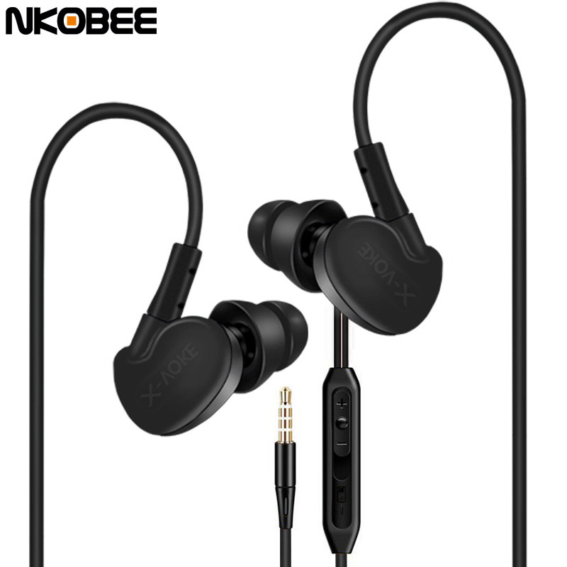 Ear Phones NKOBEE Bass Earphones With Microphone For iPhone Earphone For Xiaomi Samsung Earbuds Noise Cancelling Sport Headset original 1more triple driver in ear earphone with microphone for xiaomi mi redmi samsung mp3 earphones earbuds earpiece e1001